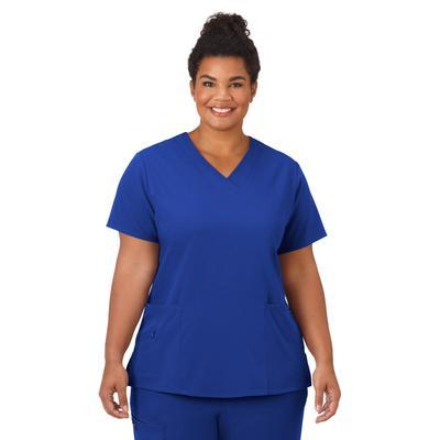 Plus Size Women's Jockey Scrubs Women's Favorite V-Neck Top by Jockey Encompass Scrubs in Royal (Size 2X(20W-22W))