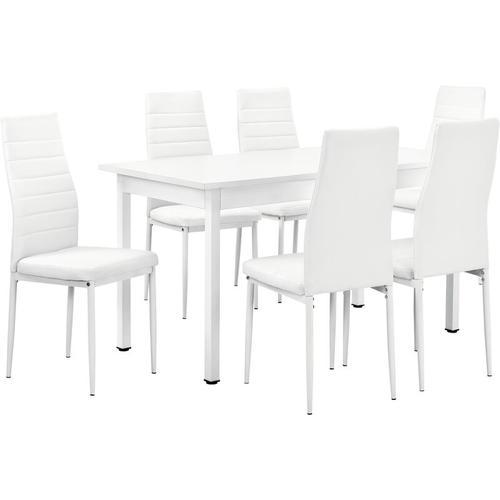 [en.casa] - Esstisch Stavanger 140x60 cm Weiß 6 Stühle Weiß