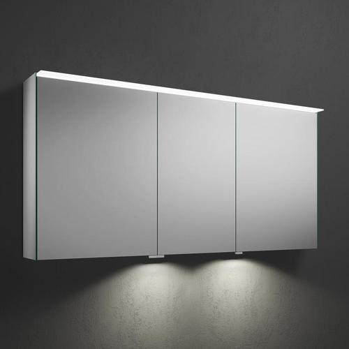 Burgbad Fiumo Spiegelschrank mit LED-Beleuchtung B: 140,6 H: 67 T: 20 cm, 3 Türen mit Waschtischbeleuchtung SPIZ140LPN491, EEK: A+