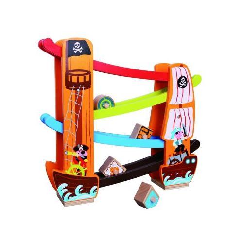 Holzspielzeug Kugelbahn / Rollbahn Pirat bunt