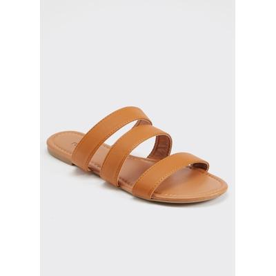 Rue21 Womens Cognac Triple Band Slide Sandals - Size 10