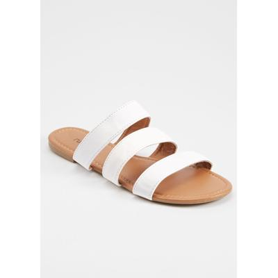 Rue21 Womens White Triple Band Slide Sandals - Size 7
