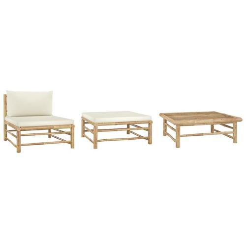 Vidaxl - 3-tlg. Garten-Lounge-Set mit Kissen Bambus