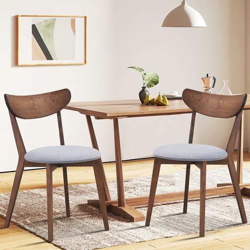 2er Set Esszimmerstühle, Moderner Esszimmerstuhlmit gekrümmter Rückenlehne, Polsterstuhl