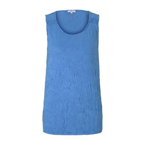 TOM TAILOR Damen Top in Knitteroptik, blau, Gr.L