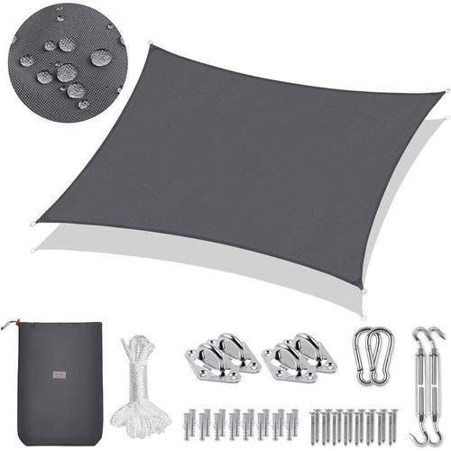 PES Sonnensegel Rechteck 3 x 2m Sonnenschutzsegel mit Montageset, Anthrazit