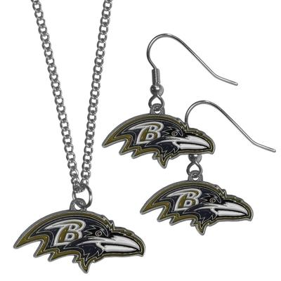 Baltimore Ravens Dangle Earrings and Chain Necklace Set - Siskiyou Buckle FDE180FN