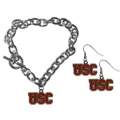 USC Trojans Chain Bracelet and Dangle Earring Set - Siskiyou Buckle CDEN53CBR