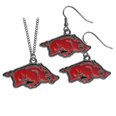 Arkansas Razorbacks Dangle Earrings and Chain Necklace Set - Siskiyou Buckle CDE12CN