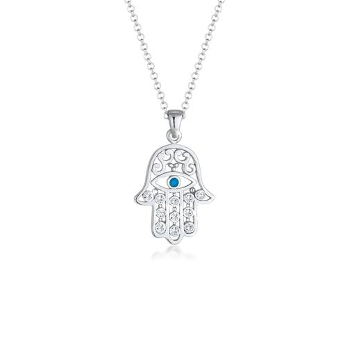 Halskette Hamsa Evil Eye Kristalle Silber Elli Silber