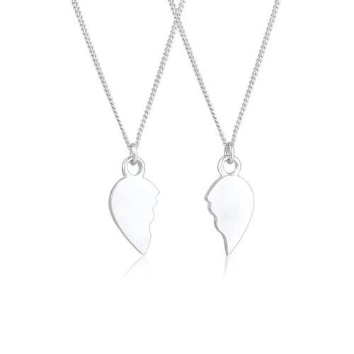 Halskette Herz Gebrochen Freundin Partner 2Er Set 925 Silber Elli Silber