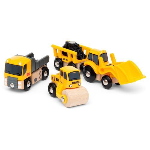BRIO Spielzeug-Eisenbahn Baustellenfahrzeuge, mit Kipper, Walze und Bagger Anhänger für die Spielzeug-Eisenbahn; FSC - schützt Wald weltweit gelb Kinder Kindereisenbahnen Autos, Eisenbahn Modellbau