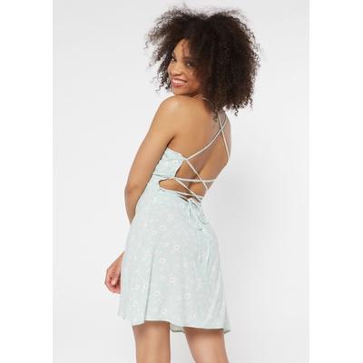 Rue21 Womens Mint Daisy Print Lace Up Crisscross Back Dress - Size M