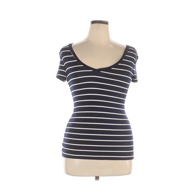 One Clothing - One Clothing Short Sleeve T-Shirt: Blue Print Tops - Size X-Large