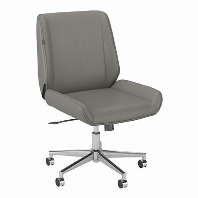 kathy ireland® Home by Madison Avenue Wingback Leather Office Chair in Light Gray - Bush Furniture MDSCH3701LGL-Z