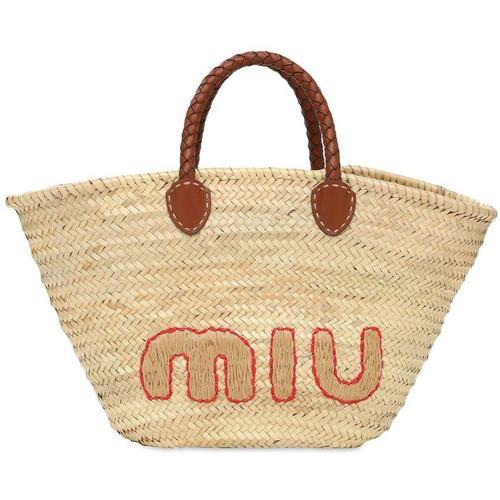 Miu Miu Tote Aus Stroh Mit Logo