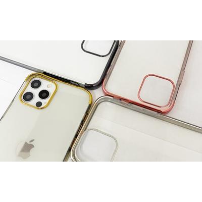 Coque en TPU galvanisé pour iPhone avec 2 protections d écran : iPhone 12 - 12 Pro / Or
