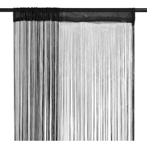 Fadenvorhänge 2 Stk. 100 x 250 cm Schwarz 01599 - Topdeal