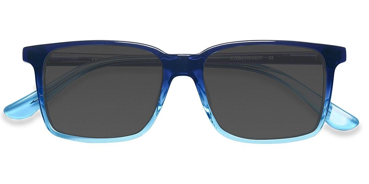 Male's Rectangle Blue Acetate Prescription sunglasses - EyeBuydirect's Epoch