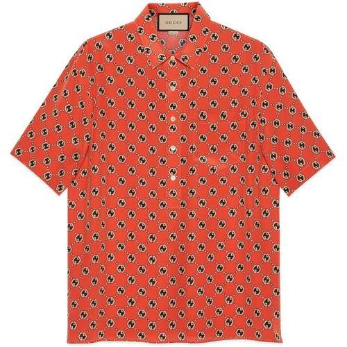 Gucci Bowling Shirt aus Seide mit sechseckigem GG Print