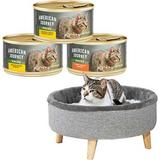 American Journey Minced Poultry in Gravy Variety Pack Grain-Free Canned Cat Food, 3-oz, case of 24 + Frisco Modern Round Elevated Cat Bed