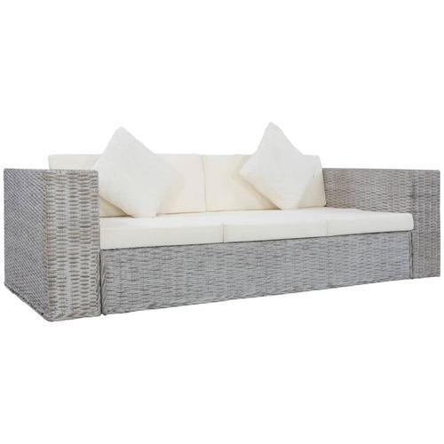3-Sitzer-Sofa mit Polstern Grau Natürliches Rattan