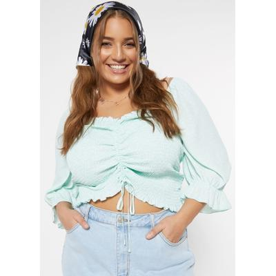 Rue21 Womens Plus Size Mint Ruched Front Long Sleeve Smock Top - Size 3X