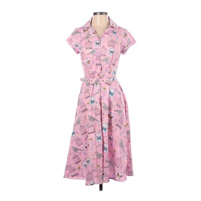 Unique Vintage Casual Dress - Shirtdress: Pink Floral Dresses - Used - Size Small