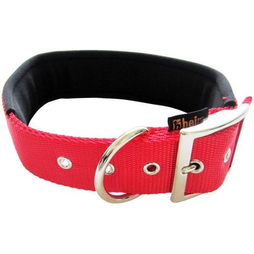 HEIM Hunde-Halsband, Nylon, mit Neopren-Futter, Länge: 60 cm rot Hundehalsbänder Hund Tierbedarf Hunde-Halsband