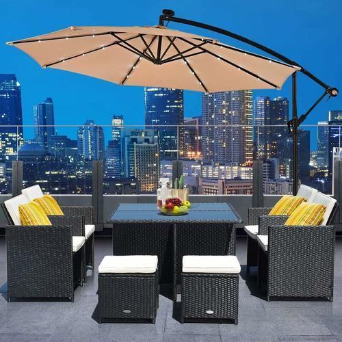COSTWAY ?300cm LED Ampelschirm Sonnenschirm, Gartenschirm mit Solarlichtern, Terrassenschirm