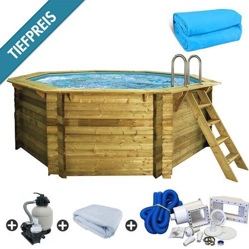 Trend Pool - Holzpool SET Achteck Folie blau 4,00 x 4,00 x 1,24 m