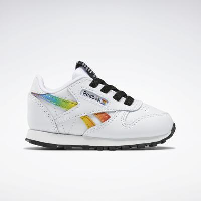 Reebok Unisex Classic Leather Pride Shoes - Toddler in Ftwr White/Ftwr White/Core Black Size 10 - Running Shoes