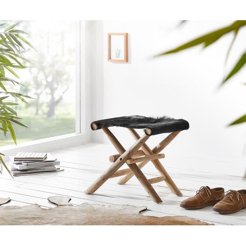 DELIFE Klapphocker Koza 46x40 cm Schwarz Ziegenfell Teak, Sitzhocker / Sitzwürfel