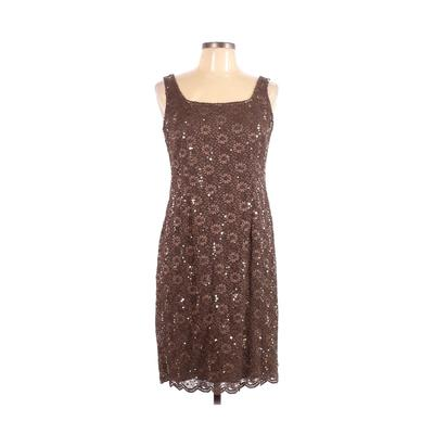 Alex Evenings Cocktail Dress - Party: Brown Solid Dresses - Used - Size 10 Petite
