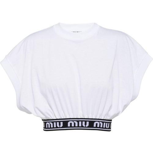 Miu Miu T-Shirt mit Logo-Tape