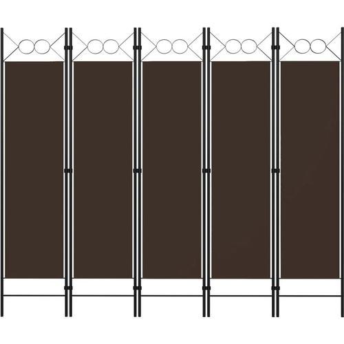 5-tlg. Raumteiler Braun 200 x 180 cm