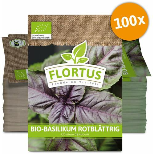 Basilikum rotblättrig (100 Tütchen)   BIO Basilikumsamen von FLORTUS