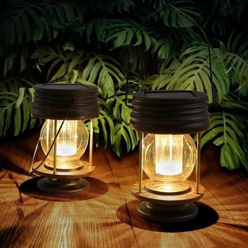 Dekorative Outdoor-Garten Solar Laterne wasserdicht IP44 2er-Set Vintage Vintage Solar Laternen