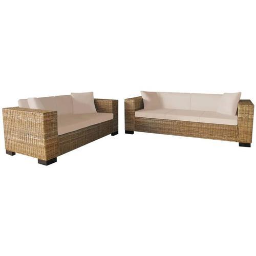 Abcrital - Sofa-Set 2-Sitzer und 3-Sitzer Echtes Rattan