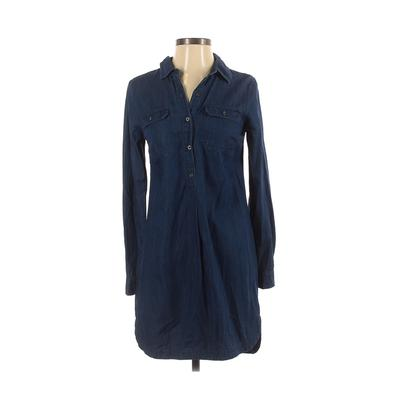 Old Navy - Old Navy Casual Dress - Shirtdress: Blue Solid Dresses - Used - Size X-Small