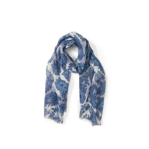Modeschal Schal aus 100% Leinen Emilia Lay blau/ weiß