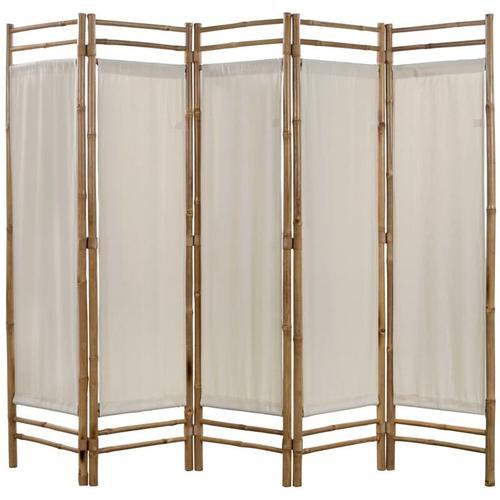 Betterlife - 5-teiliger Faltbarer Raumteiler Bambus und Leinwand 200 cm