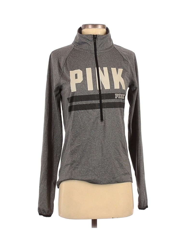 Victoria's Secret Pink Track Jacket: Gray Color Block Jackets & Outerwear - Size Small