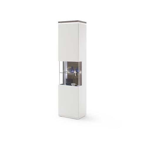 DELIFE Vitrine Bari 210x60 cm Weiss Matt LED Beleuchtung, Vitrinen