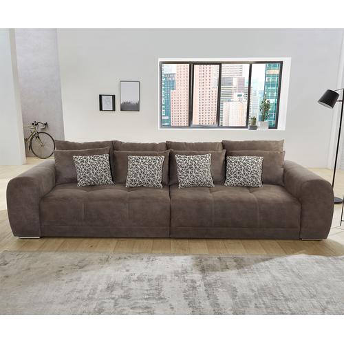 DELIFE Bigsofa Macie 306x134 cm Braun mit Kissen, Big Sofas
