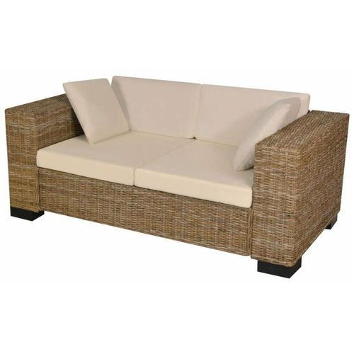 7-tlg. 2-Sitzer Sofa Set Echtes Rattan 09683 - Topdeal