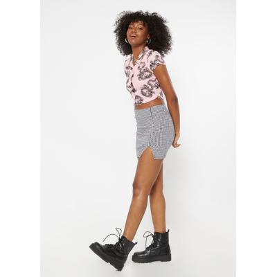 Rue21 Womens Houndstooth Print Thigh Slit Mini Skirt - Size M