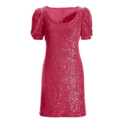 Boston Proper - Puff-Sleeve Sequin Dress - Pink - 02