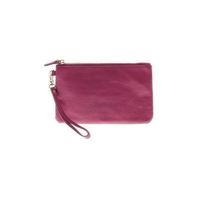 Handbag Butler Leather Wristlet: Pink Solid Bags