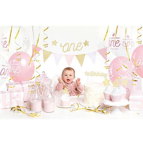 Erster Geburtstag Partydeko Set rosa